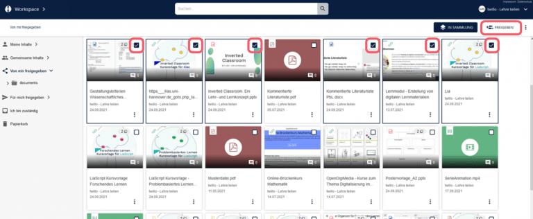 Screenshot von der Funktion mehrere Materialien für eine Personen freigeben.